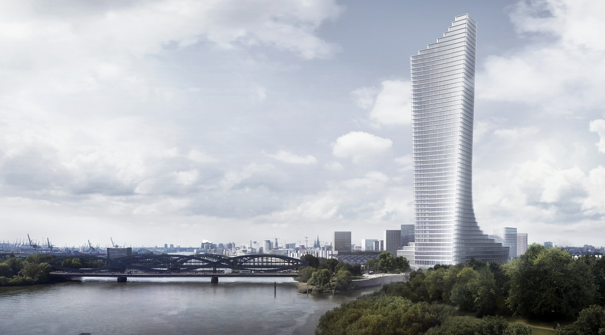 david chipperfield architects selected to design tallest tower in hamburg archdaily. Black Bedroom Furniture Sets. Home Design Ideas