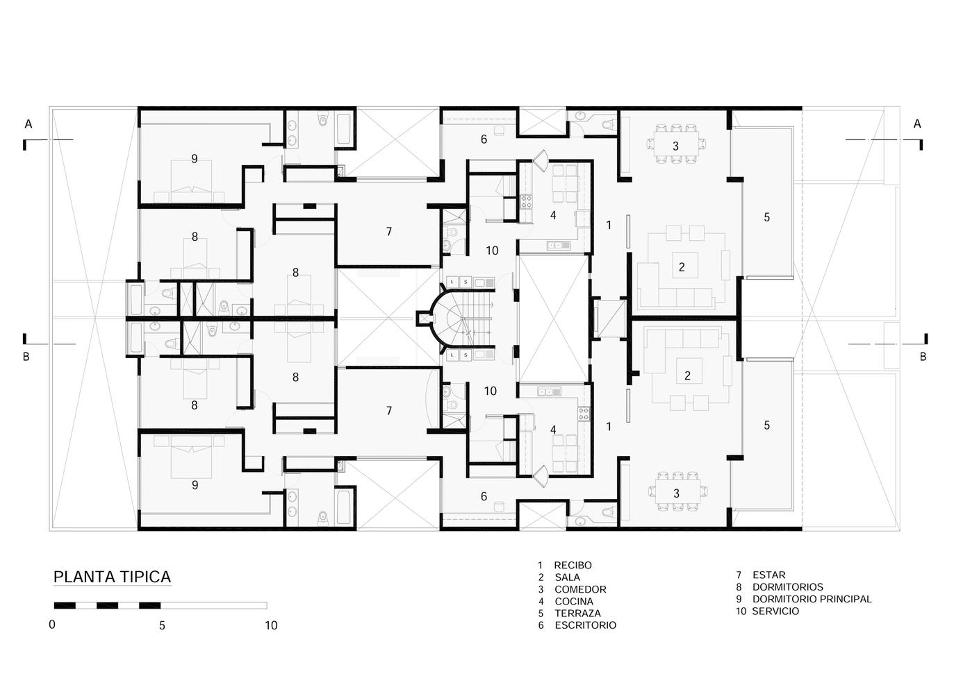 Galer a de arquitectura colectiva y de baja densidad 10 for Departamentos decorados con plantas