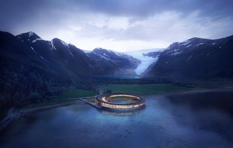 Snøhetta Designs Energy-Positive Lakeside Hotel in the Arctic Circle, © Snøhetta/Plompmozes