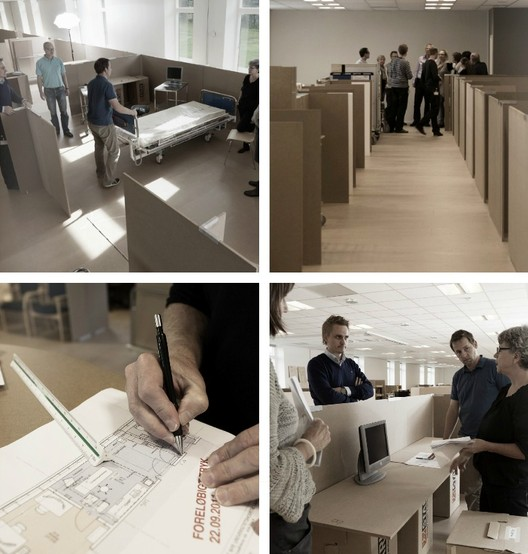 In this 'DesignLab', created by C.F. Møller, the architects invite the clients to evaluate the spaces in cardboard before being built. Image Courtesy of C.F. Møller