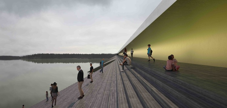 Proposed Bridge in Sweden Will Turn a River Into a Public Amphitheater, Courtesy of Erik Andersson Architects