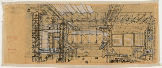 Fun Palace, from Cedric Price, conceived as as laboratory of fun and a university of the streets, was more a manifesto rather than an actual project. Gift of The Howard Gilman Foundation. Image © MoMA - The Museum of Modern Art