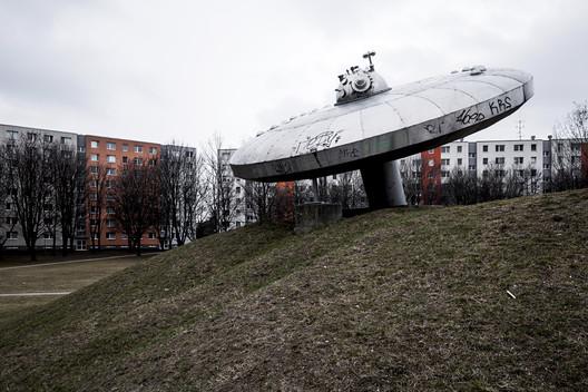"""UFO"", by sculptor Juraj Hovorka, 1979. Restored in 2014. Bratislava, Slovakia. Image © Stefano Perego"