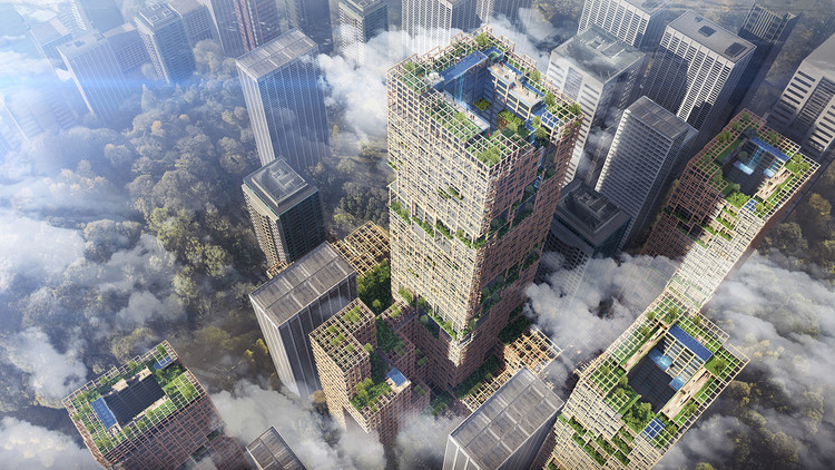 Japan Plans for Supertall Wooden Skyscraper in Tokyo by 2041, © Sumitomo Forestry Co.