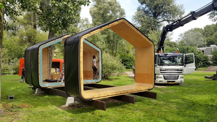 Modular Eco-Housing Pushing Boundaries With Cardboard, Under Construction. Photo Courtesy of Yvonne Witte