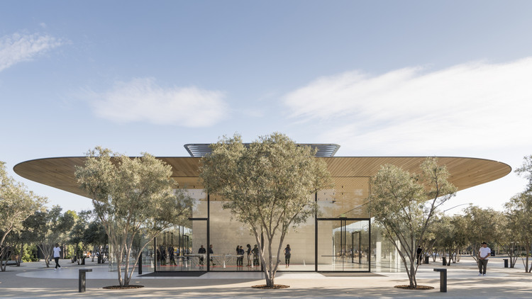 Employees Keep Walking into the Glass Walls at Apple's New Campus, A shot of the Apple Park Visitor Center. Image Courtesy of Foster + Partners