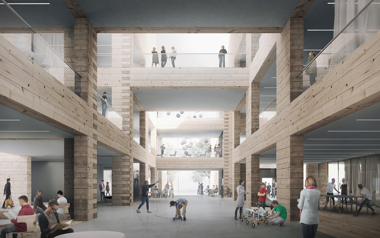 High School and Community Centre Project Tests the Limits of Timber Log Construction, Interior Render. Courtesy of AOR
