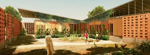The Benga Riverside Residential Community, in Mozambique. Designed by Diébédo Francis Kéré, the building elegantly fuses traditional and modern elements. Image © Kéré Architecture