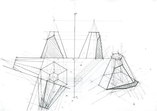 Pyramid Section Planar Change. Image Courtesy of Michael Neatu | freehandarchitecture.com