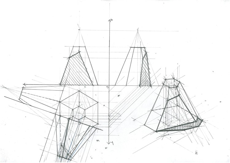 Pyramid Section Planar Change. Image Courtesy of Michael Neatu | freehandarchitecture.com