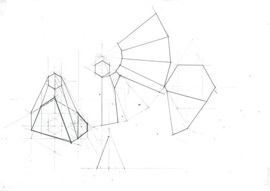 Pyramid Planar Change Unwrapped Volume. Image Courtesy of Michael Neatu | freehandarchitecture.com