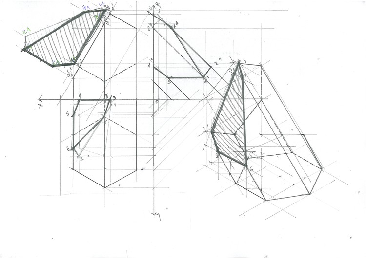 Hexagonal Inclined Prism Sections. Image Courtesy of Michael Neatu | freehandarchitecture.com