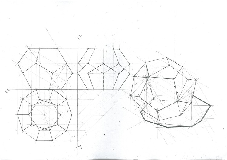 Dodecahedron Triple Projection and Isometric. Image Courtesy of Michael Neatu | freehandarchitecture.com