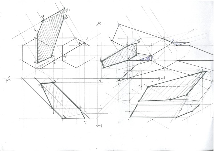 Complex Prism Unwrapping and Section. Image Courtesy of Michael Neatu | freehandarchitecture.com