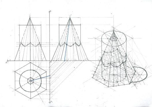Cylinder Hexagonal Pyramid Intersection. Image Courtesy of Michael Neatu | freehandarchitecture.com