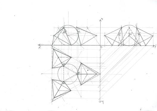 Three Tetrahedra Sphere Tangency. Image Courtesy of Michael Neatu | freehandarchitecture.com