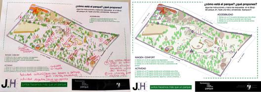 Ejemplo de mapa completado por la ciudadanía en el parque JH. Image © Paisaje Transversal
