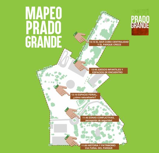 Material gráfico para el mapeo del 18 de novimebre en Pradogrande. Image © Paisaje Transversal