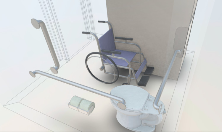 Design a Bathroom for People with Disabilities by Downloading this Basic Revit Sample Model, Cortesía de Bradley Corporation USA