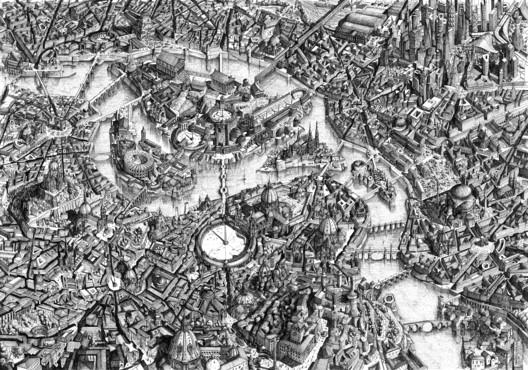 Ubaldo Occhinegro (commended, Hand-Drawn category): Utopia. Image Courtesy of Sir John Soane's Museum