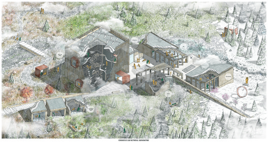 Emily Seden-Fowler (commended, Hybrid category): Knowledge Hub and Community Support Spaces - Studying Seasons and Community Interactions. Image Courtesy of Sir John Soane's Museum