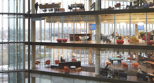 The design of Microsoft's 106,000-square-foot London office (pictured) and the flagship Milan office was informed by a new tool called space-utilization technology. Using data points collected over 180 days through Wi-Fi, Microsoft can now analyze how people use its office spaces. Image © Hufton + Crow