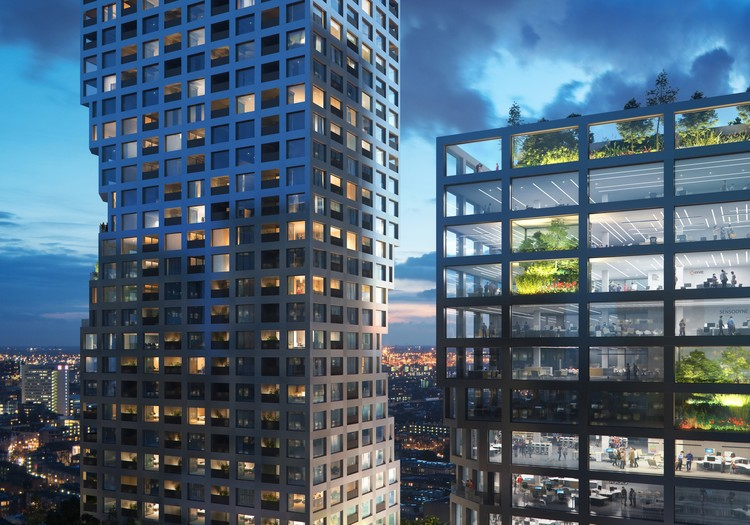 MVRDV Wins Competition for Dual Tower Mixed-Use Complex in Rotterdam, View of towers. Image © Mozses