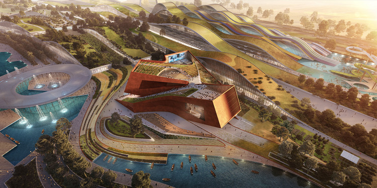UNStudio Wins France's Largest Private Architecture Competition for Cultural Cinema Center in EuropaCity, Aerial view. Rendering by Flying Architecture. Image Courtesy of UNStudio