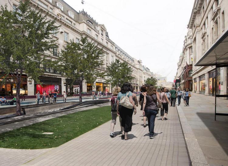 Zaha Hadid Architects revela propuesta para peatonalizar Londres, Regent Street según la visión de Zaha Hadid Architects en 'Walkable London'. Image vía Walkable London