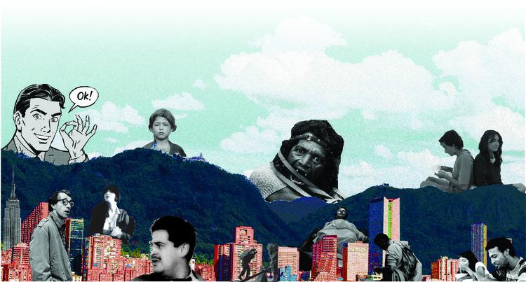 La memoria urbana en la representación cinematográfica de Bogotá, Figura 1. Cerros de Bogotá con personajes fílmicos. Imagen. María Camila Rodríguez R.