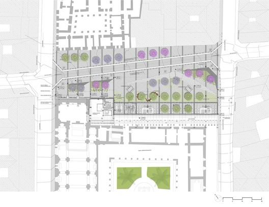 Plaza Huerto San Agustín Plan / Jaramillo Van Sluys Arquitectura + Urbanismo. Image via Jaramillo Van Sluys Arquitectura + Urbanismo