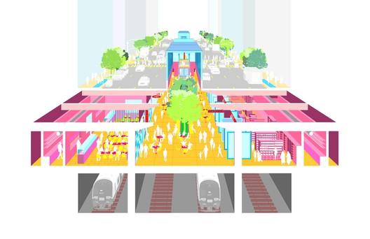 "B009-1 ""Subterranean Arcade"" / Gaffney-Nguyen Architect. Image Courtesy of Fisher Brothers"