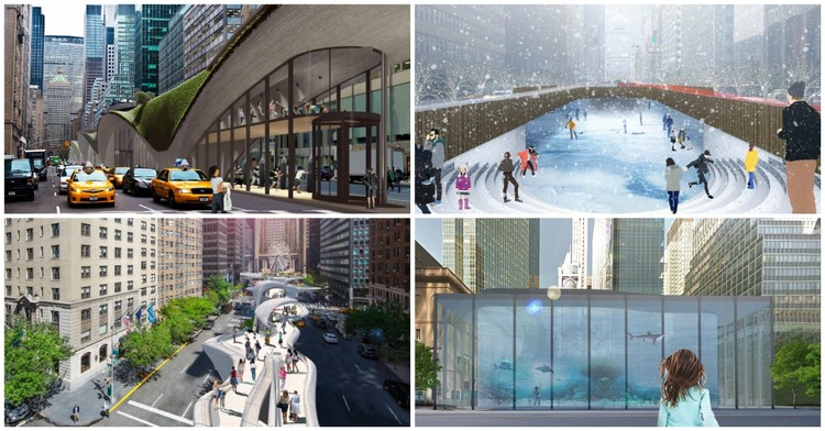 Elevated Walkways, Aquariums and Mini-Golf Courses Among 17 Finalists in Competition to Transform New York's Park Avenue , Courtesy of Fisher Brothers