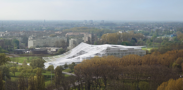 Sou Fujimoto and Coldefy & Associés Propose a Sweeping Canopy for French Court House, Courtesy of MIR