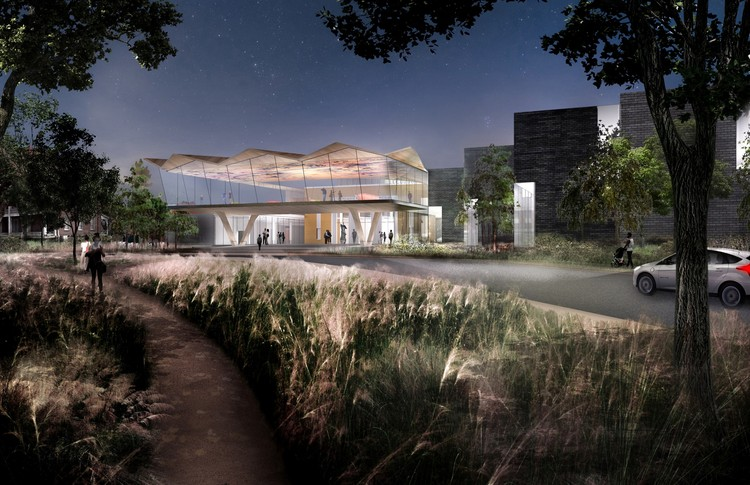 Studio Gang Reveals Design of Arkansas Arts Center Expansion, New North Entry from Crescent Drive. Image Courtesy of Studio Gang