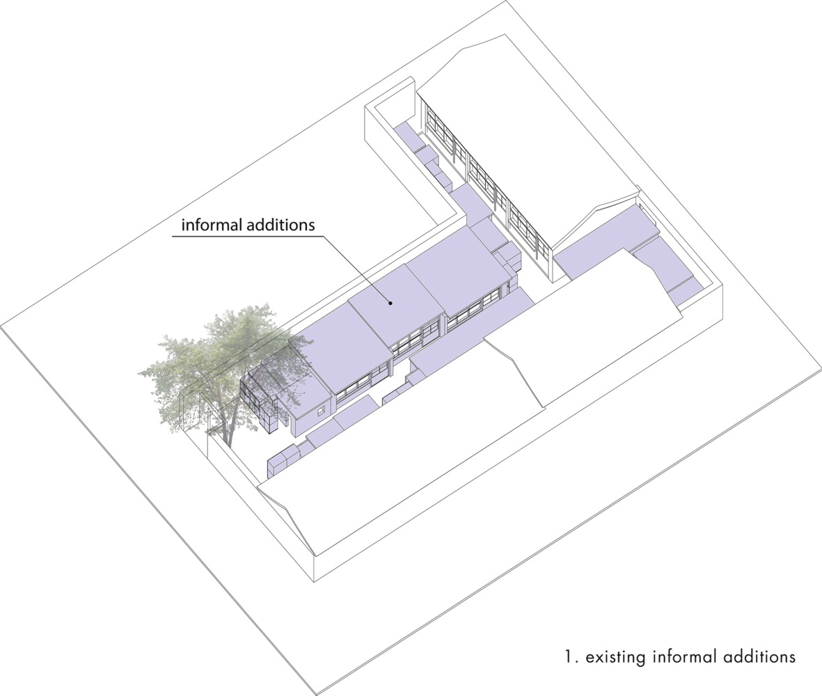 Courtyard renovation at the white pagoda temple tsinghua university school of architecture maison h animated axo of design concept