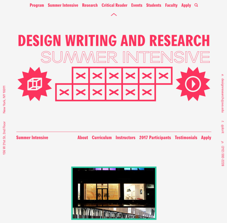 Apply for 2017 Design Writing & Research Summer Intensive, Summer Intensive Website