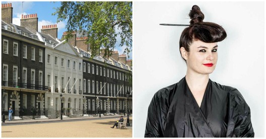 Left, The Architectural Association on Bedford Square, London. Photograph by wikimedia user Jeremysm. Image is in the public domain. Right, Eva Franch i Gilabert. Photo by Stefan Ruiz