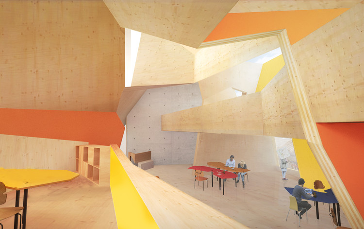 Peter Cook's CRAB Studio Reveals Sunny CLT Innovation Center for the Arts University Bournemouth, Interior View. Image Courtesy of CRAB Studio