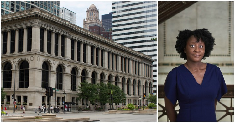 Yesomi Umolu Selected as Artistic Director of the 2019 Chicago Architecture Biennial, Images by Wikimedia user Victorgrigas (left) and Andrew Bruah