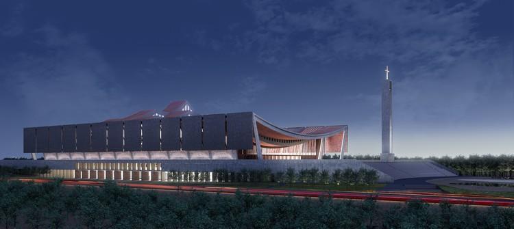 Adjaye Associates divulga projeto para a nova Catedral Nacional de Gana , Exterior ao entardecer. Imagem Cortesia de Adjaye Associates