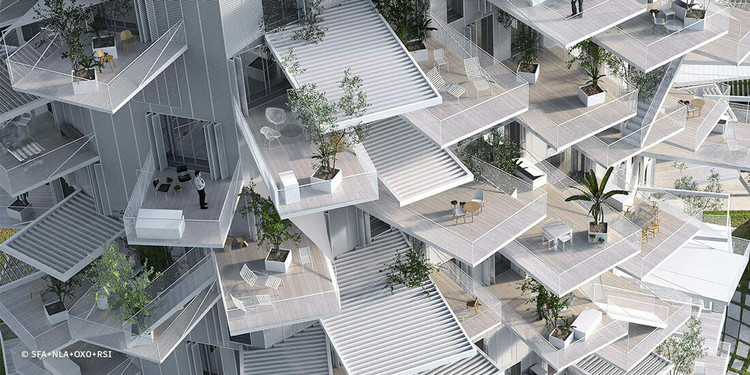 How Sou Fujimoto Promotes Community By Uniting Seemingly Opposite Elements, Architecture meets the outdoors in Sou Fujimoto's L'arbre Blanc housing tower, under construction in Montpeller, France. Image Courtesy of SFA+NLA+OXO+RSI