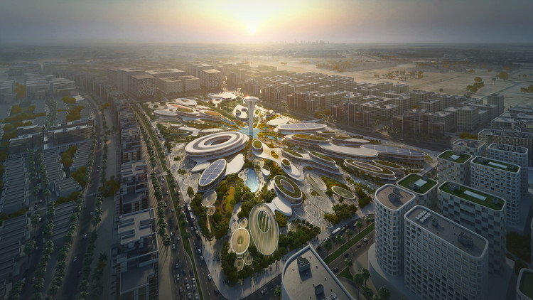 Zaha Hadid Architects' UAE Central Hub Inspired by Water Droplets, ZHA 's Central Hub will take a prominent position in the UAE's Aljada masterplan. Image Courtesy of Zaha Hadid Architects