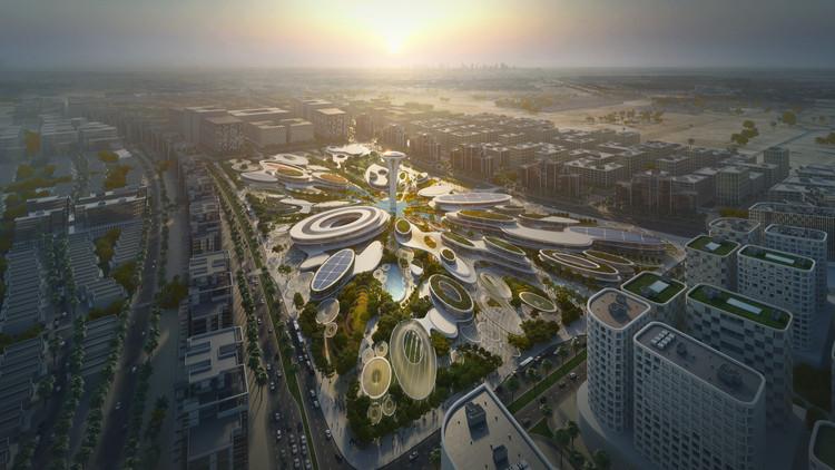 Zaha Hadid Architects se inspira em gotas d'água para projetar o Central Hub EAU, O Central Hub de ZHA assumirá uma posição proeminente no plano diretor de Aljada, nos Emirados Árabes Unidos. Imagem Cortesia de Zaha Hadid Architects