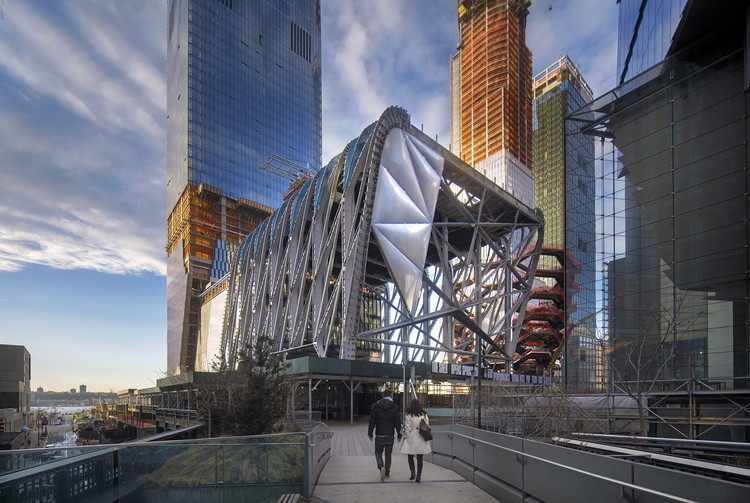 New Renderings Revealed of The Shed at Hudson Yards as ETFE Cladding is Installed, The Shed under construction as seen from the High Line, February 2018. Photo by Ed Lederman