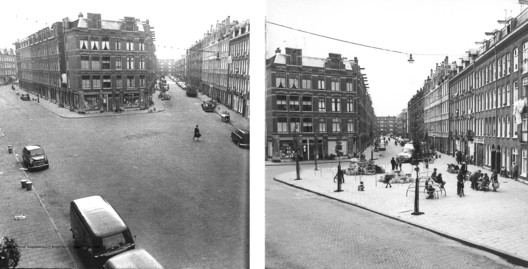 Ejemplo de patio de juego desarrollado en una calle de Amsterdam por Aldo van Eyck.. Image © Playscapes
