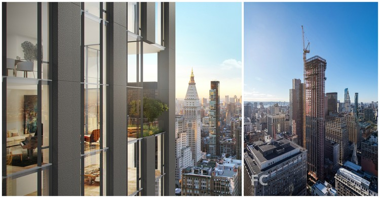 Rafael Viñoly Architects' NoMad Residential Tower 277 Fifth Tops Out in New York City, Left image courtesy of Rafael Viñoly Architects. Left image via Field Condition