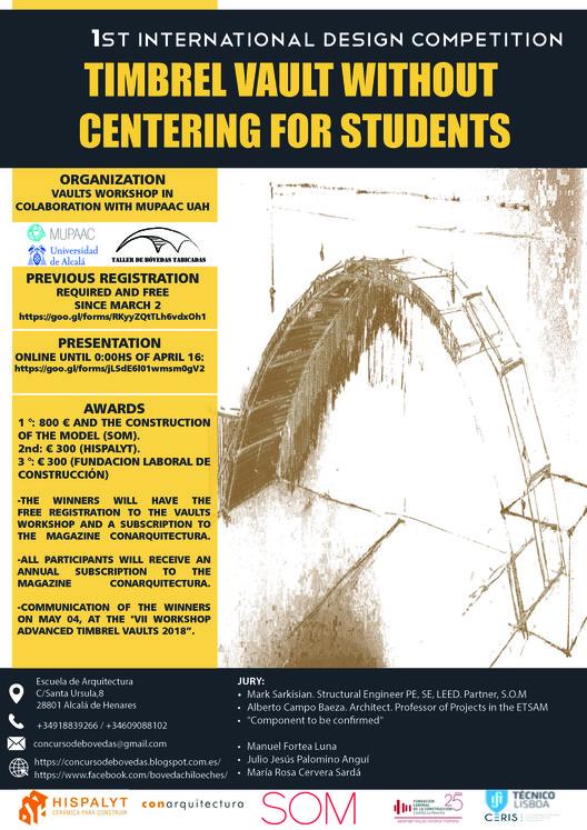 Concurso internacional de diseño con bóvedas tabicadas para estudiantes de arquitectura e ingeniería, Cartel del concurso