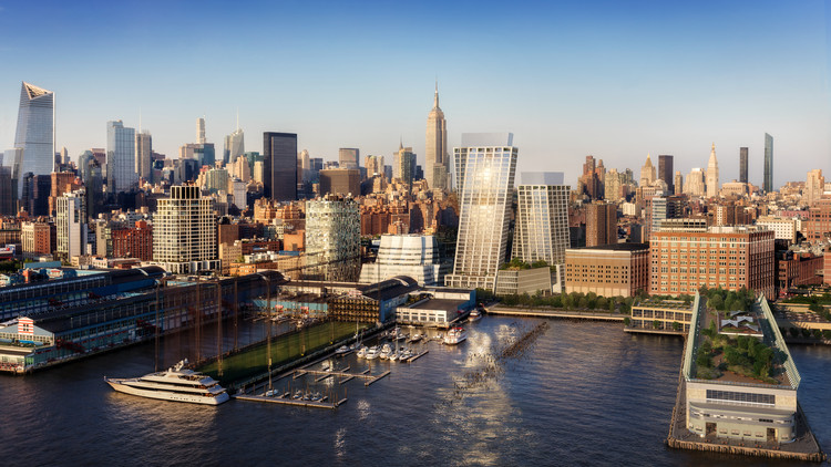 New Rendering Shows Off the Final Design of BIG's Twisting High Line Towers as Construction Moves Forward, © DBOX