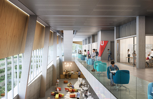 The School of Continuing Studies will feature interconnected lounge spaces that support communities of learning. Image Courtesy of Perkins + Will